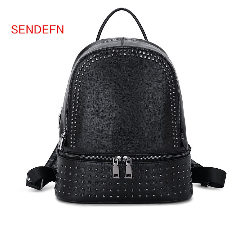 Sendefn Casual Backpack Large Capacity Genuine Leather Backpack Rivet Black Shoulder Bag Women Teenage Girls School Travel Bags шапка с помпоном huf 10k beanie black