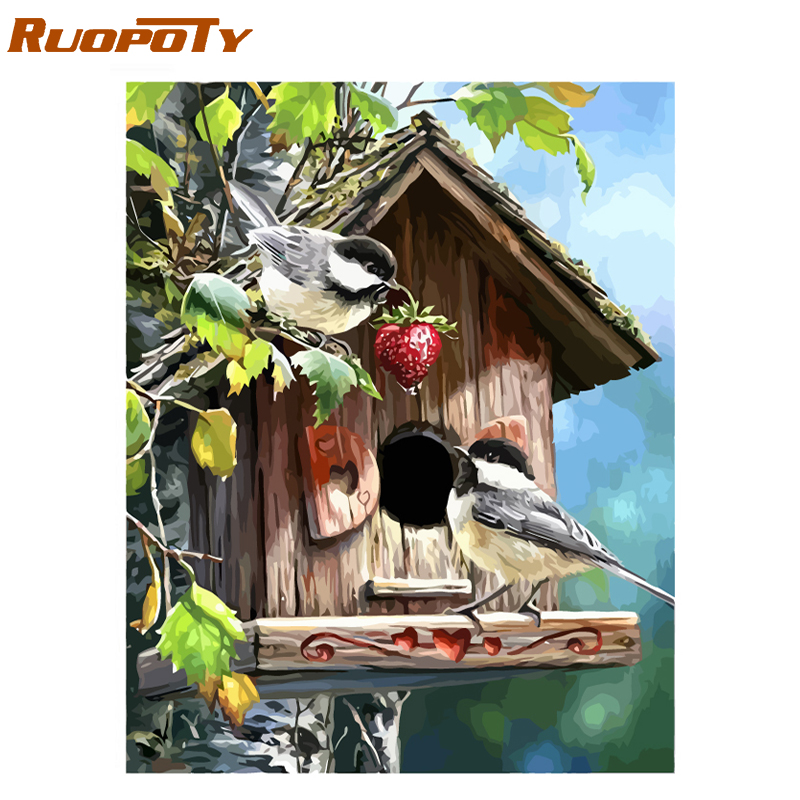 RUOPOTY Frame Picture Birds Animals DIY Painting By Numbers Acrylic Paint On Canvas Painting Unique Gift For Home Decor 40x50cm