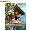 RUOPOTY cadre photo oiseaux animaux bricolage peinture par numéros peinture acrylique sur toile peinture Unique cadeau pour la décoration de la maison 40x50cm|Peinture et calligraphie|Maison & Animalerie -