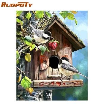 RUOPOTY cadre photo oiseaux animaux peinture à la main par numéros peinture acrylique sur toile peinture cadeau Unique pour décor maison 40x50 cm