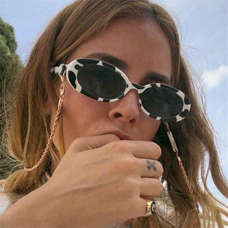 Plinth Sunglasses Women Couple Small Oval Cow-Color Trendy Designer Retro Ladies Frame