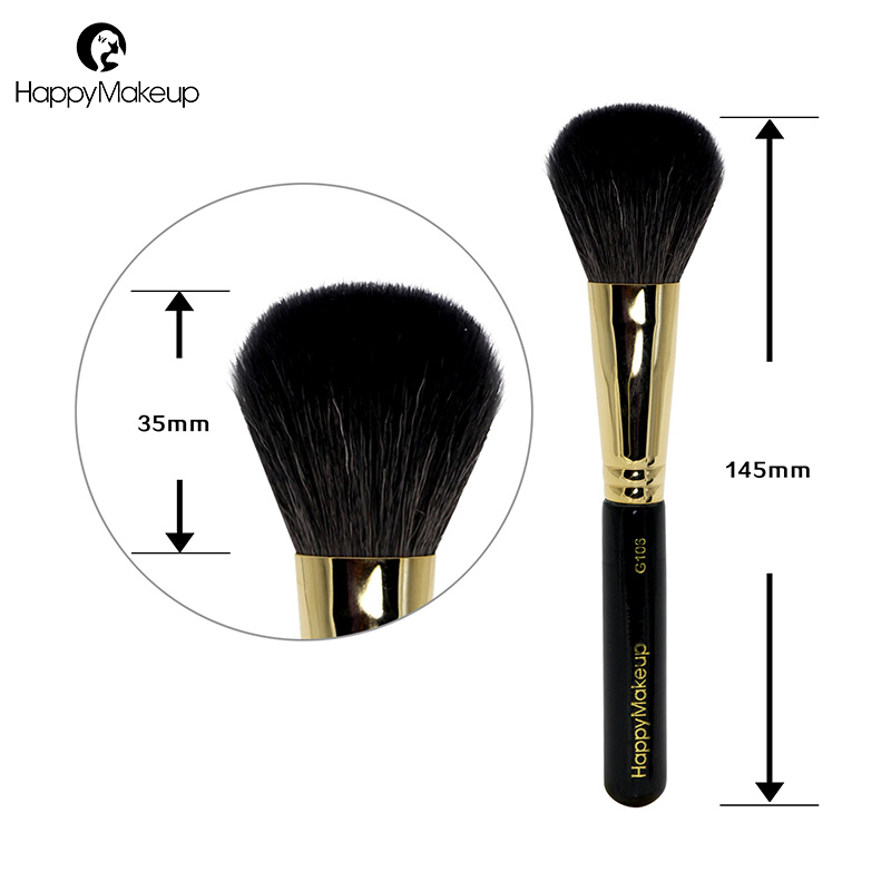 Happy Makeup Brush Domed Face Blush Powder Contour Blending brush soft natural goat hair high quality professional cosmetic 1Pcs