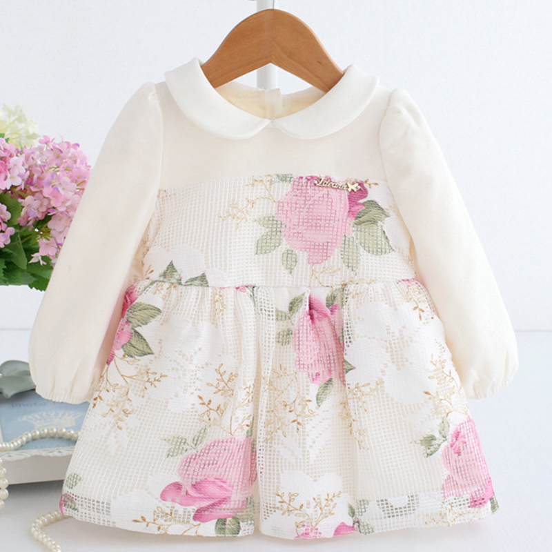 Baby Girl Dress 1 Year Old Girl Birthday Dress Flannel Liner Winter Warm Clothes Flower Floral Frock Long Sleeve B014 Vestidos