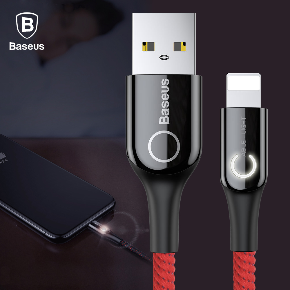 Baseus 24a Led Light Usb Cable For Iphone X Xs Max Xr 8 7 6 6s 5 5s Wiring Diagram5pin Micro Cableled Product On Plus Fast Charger Mobile Phone