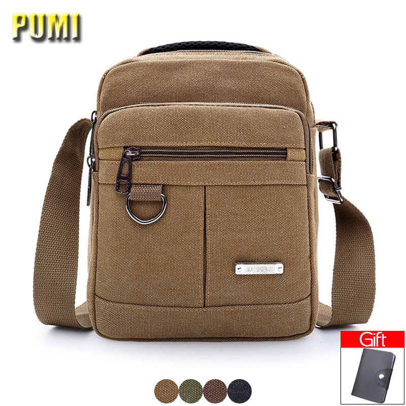 Men Canvas Shoulder Crossbody Bag High Quality Big Small 2 Size Messenger Bag Male Casual Business Travel Bags Military BookBag