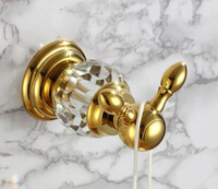 Free shipping luxury crystal & brass gold robe hook bathroom hangings gold towel rack clothes hook CY001
