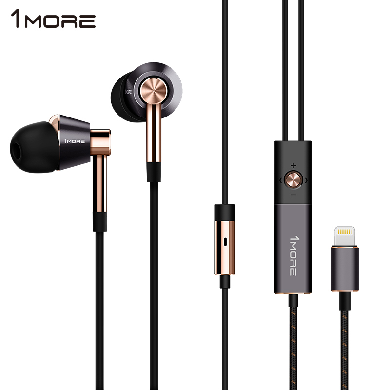 1MORE Triple Driver LTNG In-Ear Earphone for Phone HIFI Hybrid Earpiece Earbuds with Microphone and Remote  E1001L