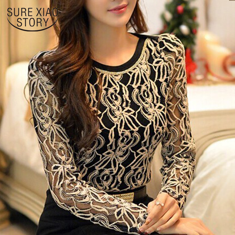 GM Long Sleeve Lace Chiffon Blouse