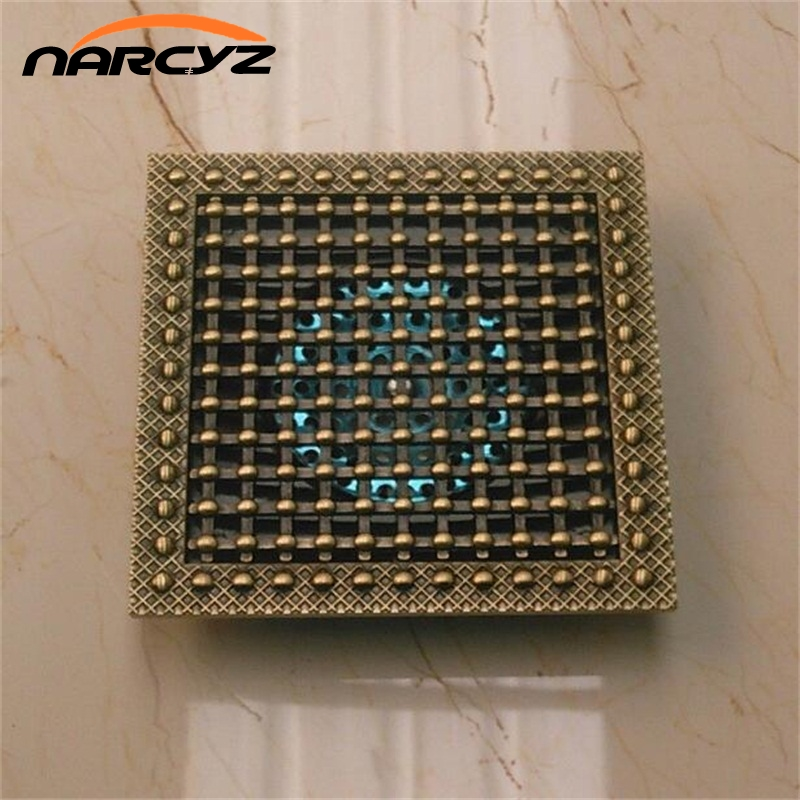 Shower Drain 15cm Euro Antique Brass Floor Drain Cover Shower Square Waste Grate Strainer Hair Bathroom Bath Accessories XSQ1 21
