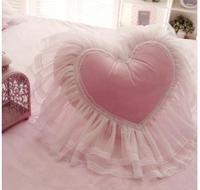 romantic heart shaped lace lumbar cushion heart pillow backrest home decoration
