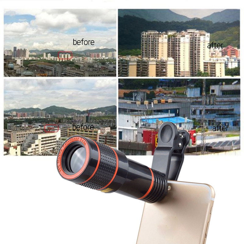 Clip-on 12x Optical Zoom Mobile Phone Telescope Lens HD Telescope Camera Lens For Universal Phones black one size 9
