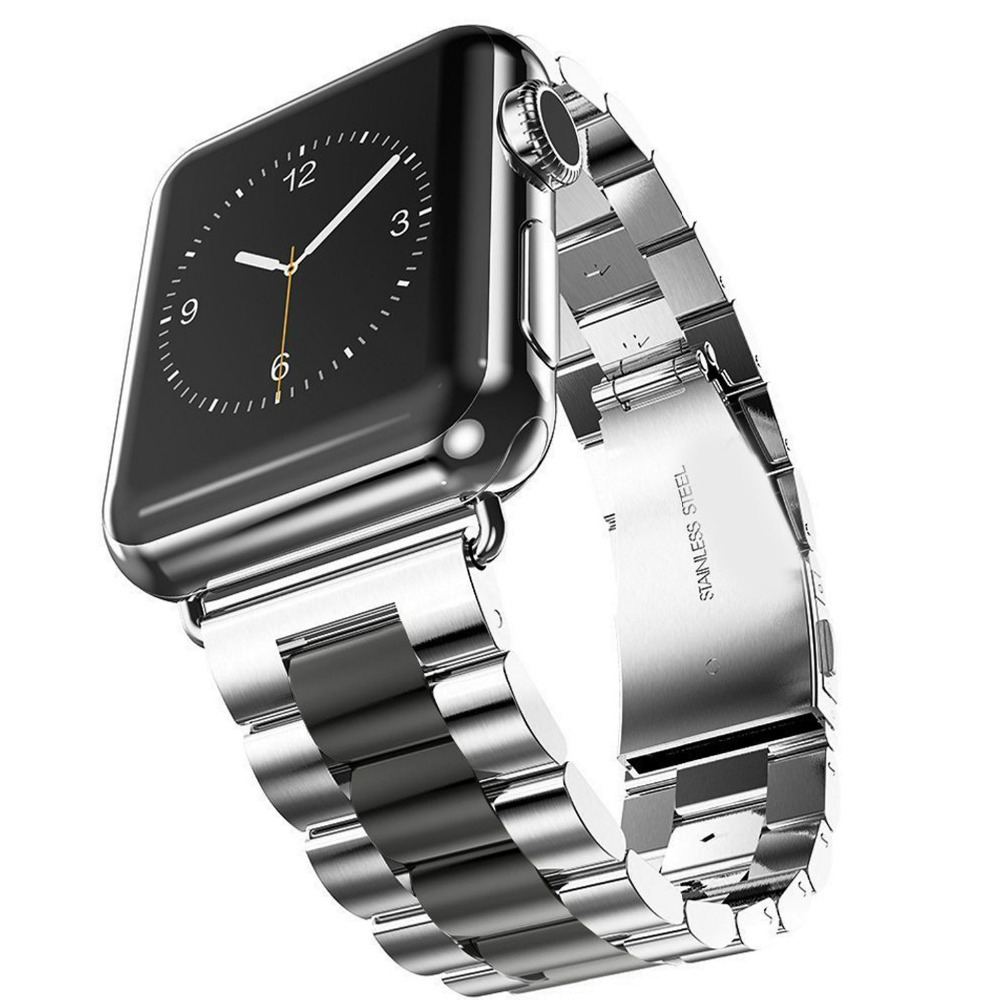 Stainless Steel Strap Replacement Wrist Band 38/40MM 42/44MM With Connector Smart Watch Strap For Apple Watch(China)