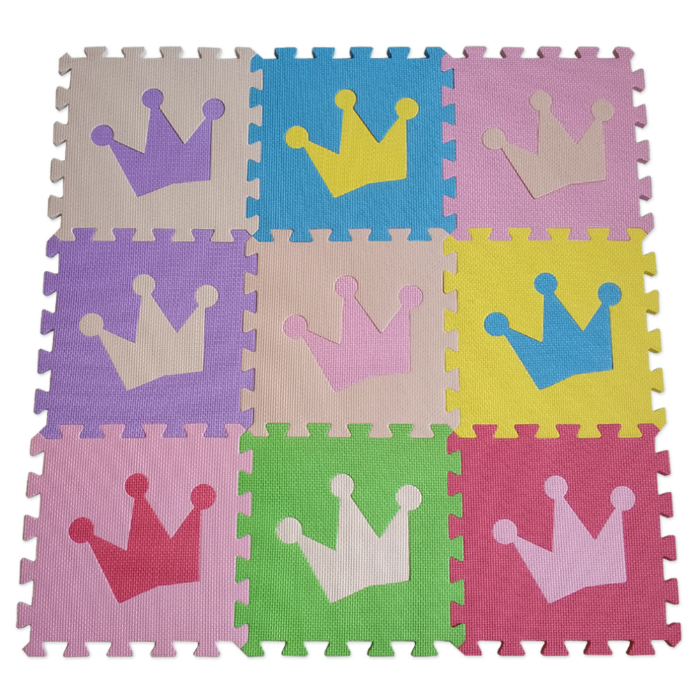 Meitoku Baby EVA Foam Puzzle Play Mat/ Crown Interlocking Exercise Floor Carpet Tiles, Rug For Kids,Each32cmX32cm 1cmThick