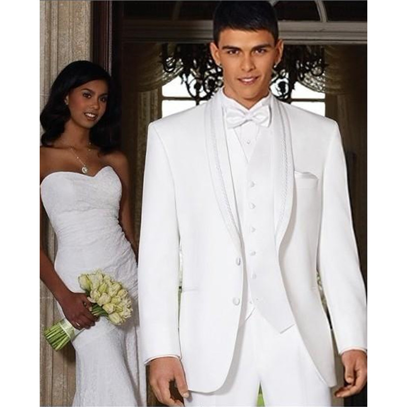 High Quality Groom Tuxedos Shawl Collar Best man Suit White Groomsman Bridegroom Wedding Prom Suits (Jacket+Pants+vest)