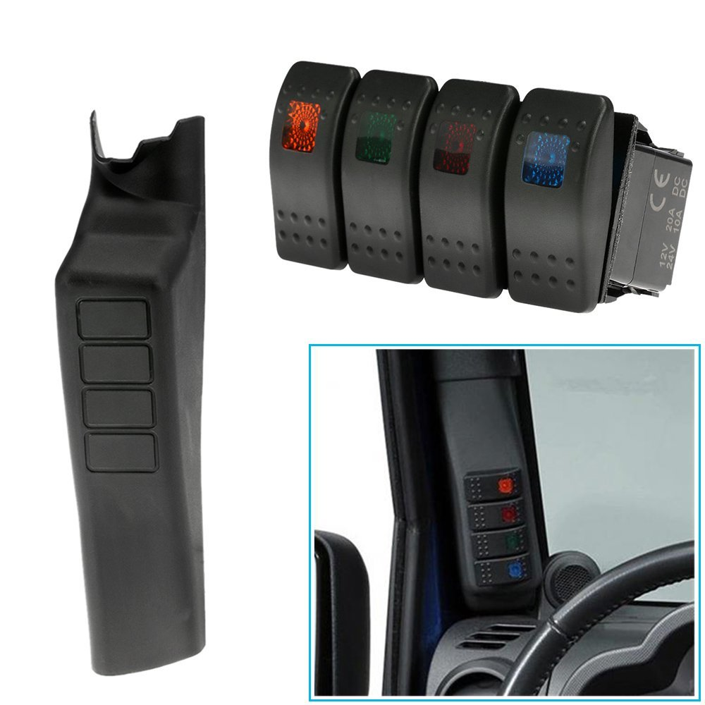 Left Hand A Pillar 4 Switch Panel Pod for Jeep Wrangler JK JKU Unlimited Rubicon Sahara Off Road Sport Interior Accessories Part