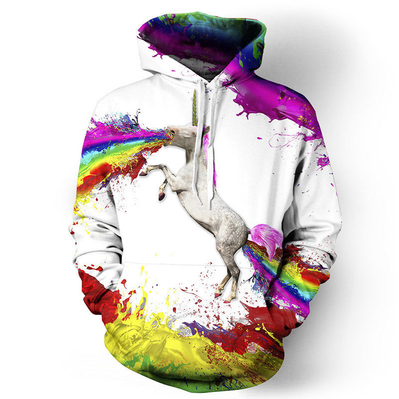 Rimiut 2017 Fall/Winter New Outerwears Hoodies Unicorn Print 3D Sweatshirt Men Women Hoo ...