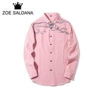 Zoe Saldana Men Shirt 2017 Autumn New Fashion Graffiti Printed Shirts Male Slim Fit 100% Pure Cotton Camisa Masculina Plus Size