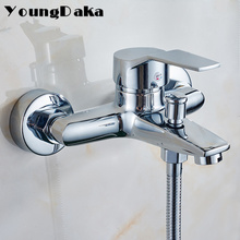 2017 Wall Mounted Bathroom Brass Faucet Bath Tub Mixer Tap With Hand Shower Head /Modern Chrome Finish Shower Faucet Set
