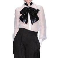 HIGH QUALITY New Fashion 2019 Designer Runway Shirt Women's Long Sleeve Sequined Bow Collar Blouse Shirt
