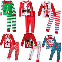 2pcs Hot Xmas Baby Boy Girl Clothes Long Sleeve Cartoon Tops Long Pants Christmas Baby Kid