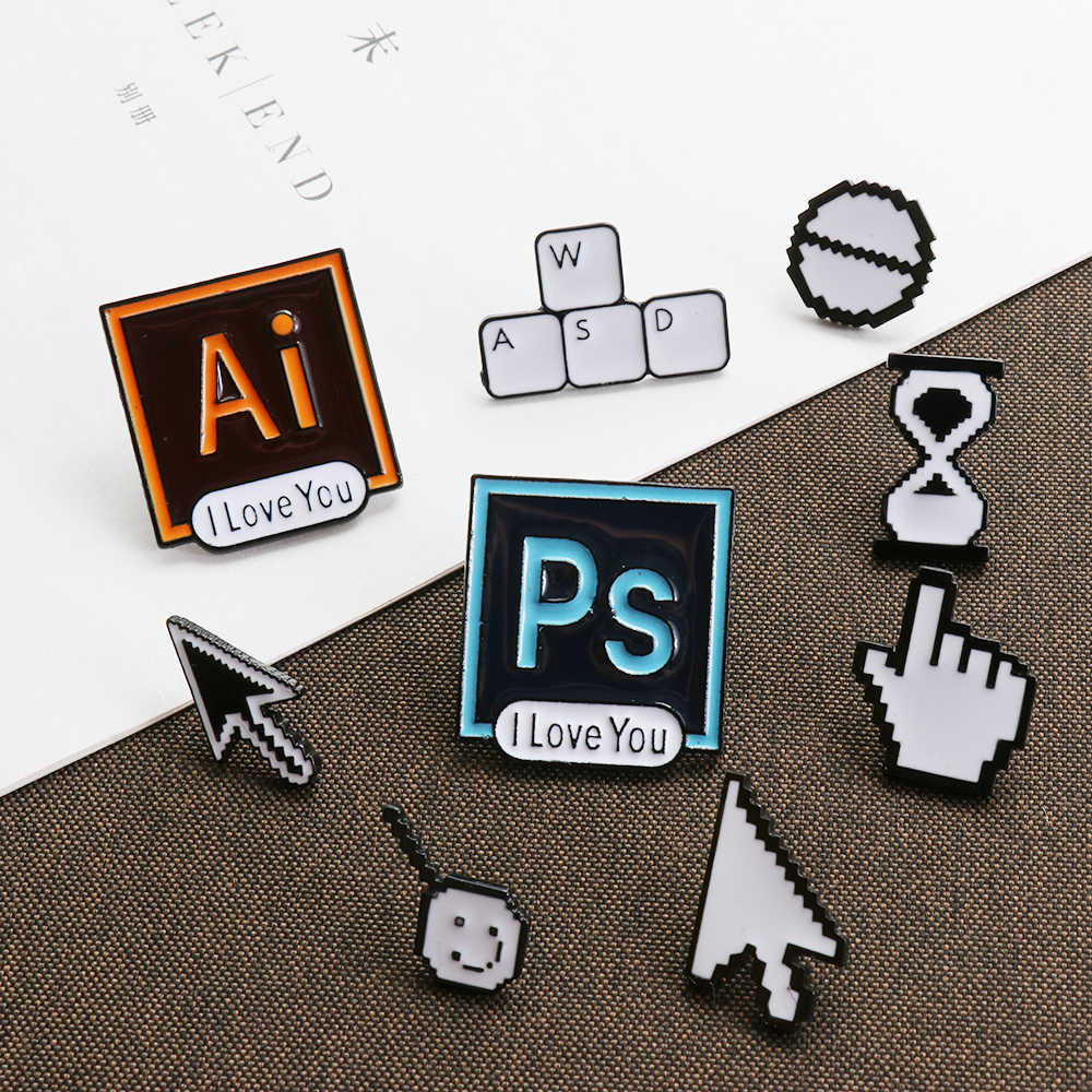 Classical Pixel Cursors PS AI Photoshop Toolbar Hourglass Computer Window Icon Mouse Pointer Hand Arrow Enamel Brooches Pins
