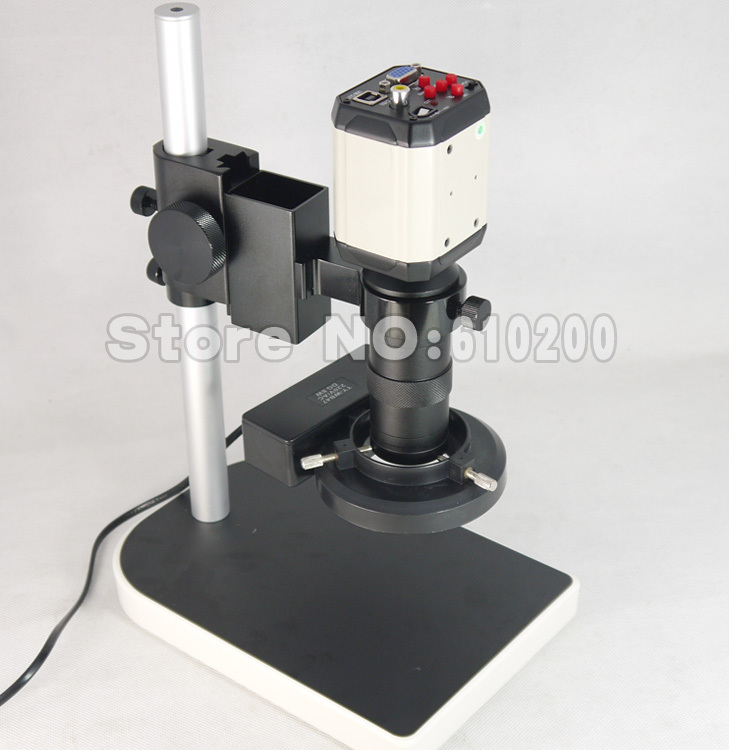 2.0MP 8X-100X HD Industry Microscope Camera VGA USB AV TV Video Output + C-Mount Lens + Stand Holder + Ring Light illuminator factory direct sale mini industry microscope stand lcd digital microscope camera arm holder size 40mm