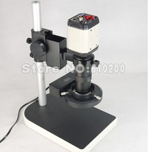 Industria 8X-100X 2.0MP HD Microscopio Cámara VGA TV AV USB Video salida + Lentes de Montura C + Soporte Del Sostenedor + Anillo iluminador De Luz