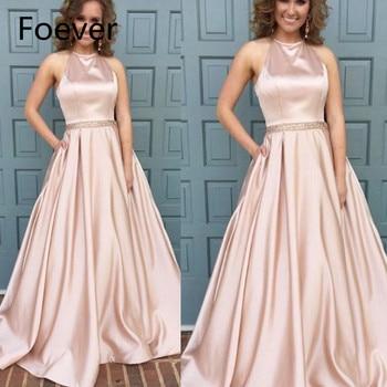 newest prom dresses crew neckline crystal beading belt satin floor length pink evening dresses cheap
