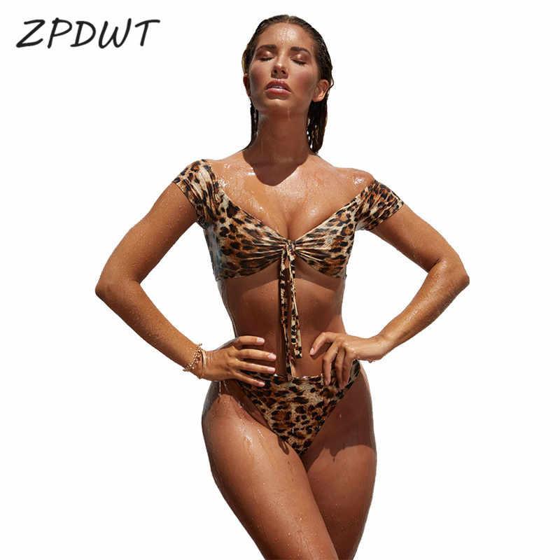 f21403dcea2f6 ZPDWT New Off Shoulder Two Piece Swimsuit Leopard Bikini Set Thong Swimwear  Women High Waist Bikini