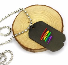 LGBT Pride Art Design Rainbow Silver Plated Pendant Necklace