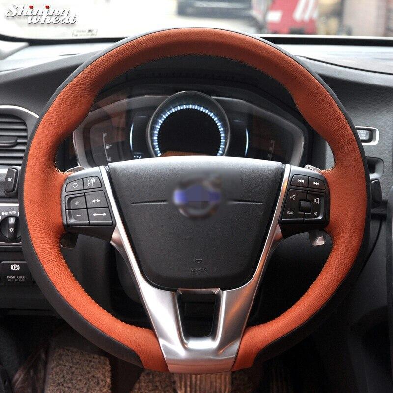 Shining wheat Hand-stitched Black Genuine Leather Car Steering Wheel Cover for Volvo S60 V40 V60 V70 2014 XC60 ecotronic v40 u4l black