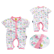 2017 New Fashion Costume For Baby Girl Summer Overalls Baby Soft Printing Baby Clothes Short Sleeve Unisex Baby Rompers(China)