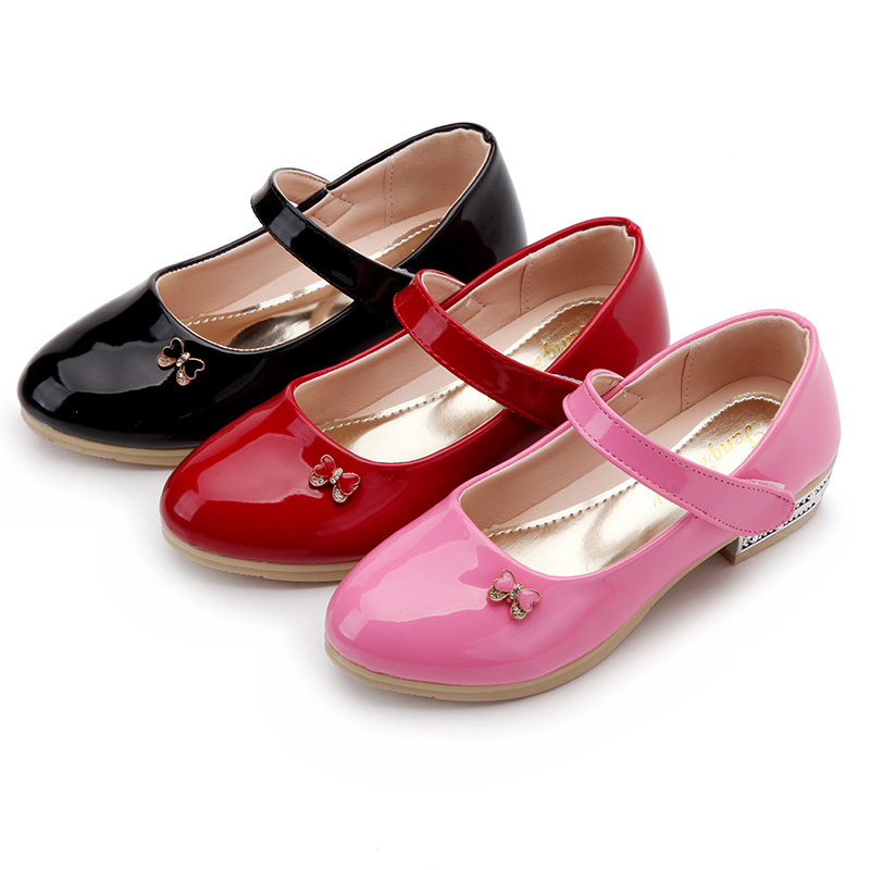 Smart Poro Children Girls Single Shoes Kids Baby Princess Leather Shoes Spring/Autumn Leisure Girls Fashion Student Shoes
