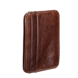 2018 Luxury Real Cow Genuine Leather Card Holder Slim Business Id Credit Case Thin Small Wallet for Men holder(China)