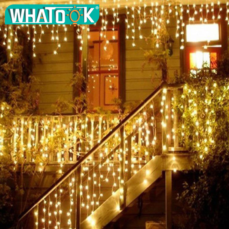 New Christmas Lights Outdoor String Light 4.5m 220V 100 Leds Curtain Decorative New Year Party Weeding Holiday LED Lamp Light