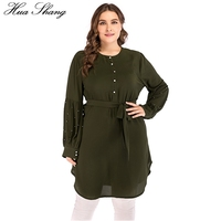 4XL 5XL Plus Size Women Blouses Green 2018 Summer Beading Long Sleeve Buttons Tunic Ladies Tops Indonesia Long Chiffon Blouse