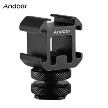 Andoer 3 Cold Shoe Microphone Monitor Mount Adapter On Camera LED Video Light Mount Adapter for Canon Nikon Sony DSLR Camera