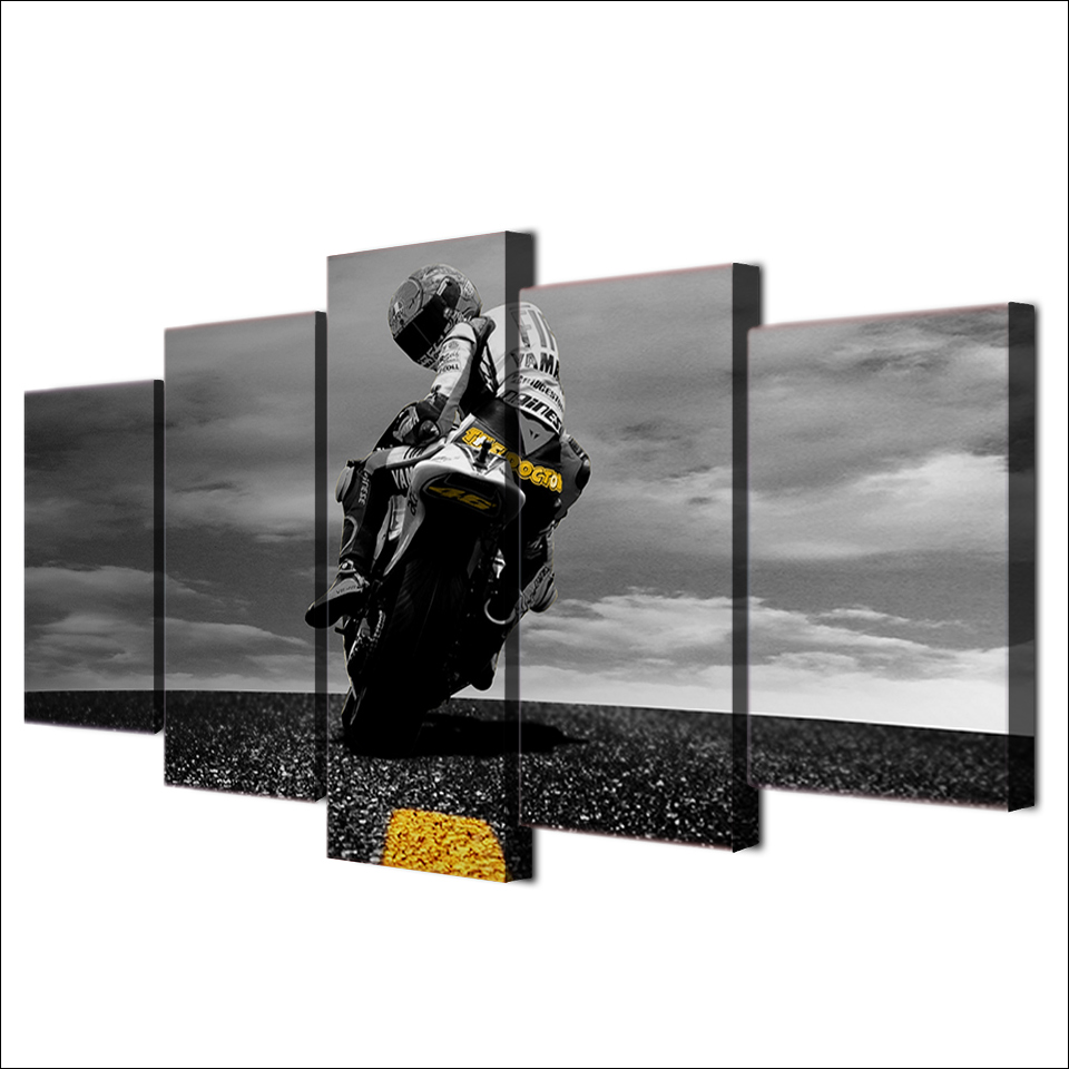 5 Piece Canvas Art Motorcycle Poster Painting Framed Wall ...