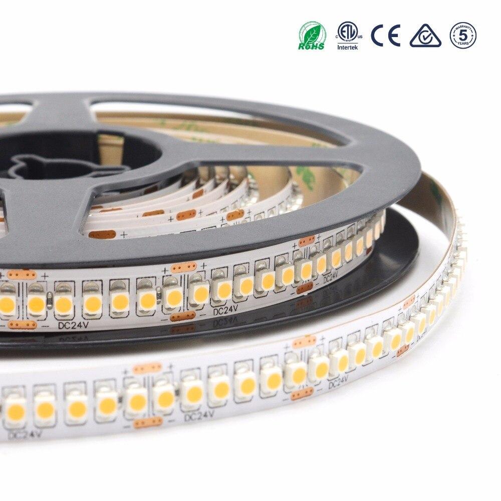 CRI> 90 3528 240 LED s DC24V haute densité LED bande 10 MM PCB blanc chaud bande LED flexible lumière pour éclairage intérieur 5 M/lot