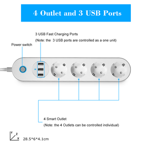Image 3 - WiFi Smart Power Strip Socket Voice Control Timer Switch Power Strip Outlet with 4 AC Outlets 3 USB Port for Alexa Google Home