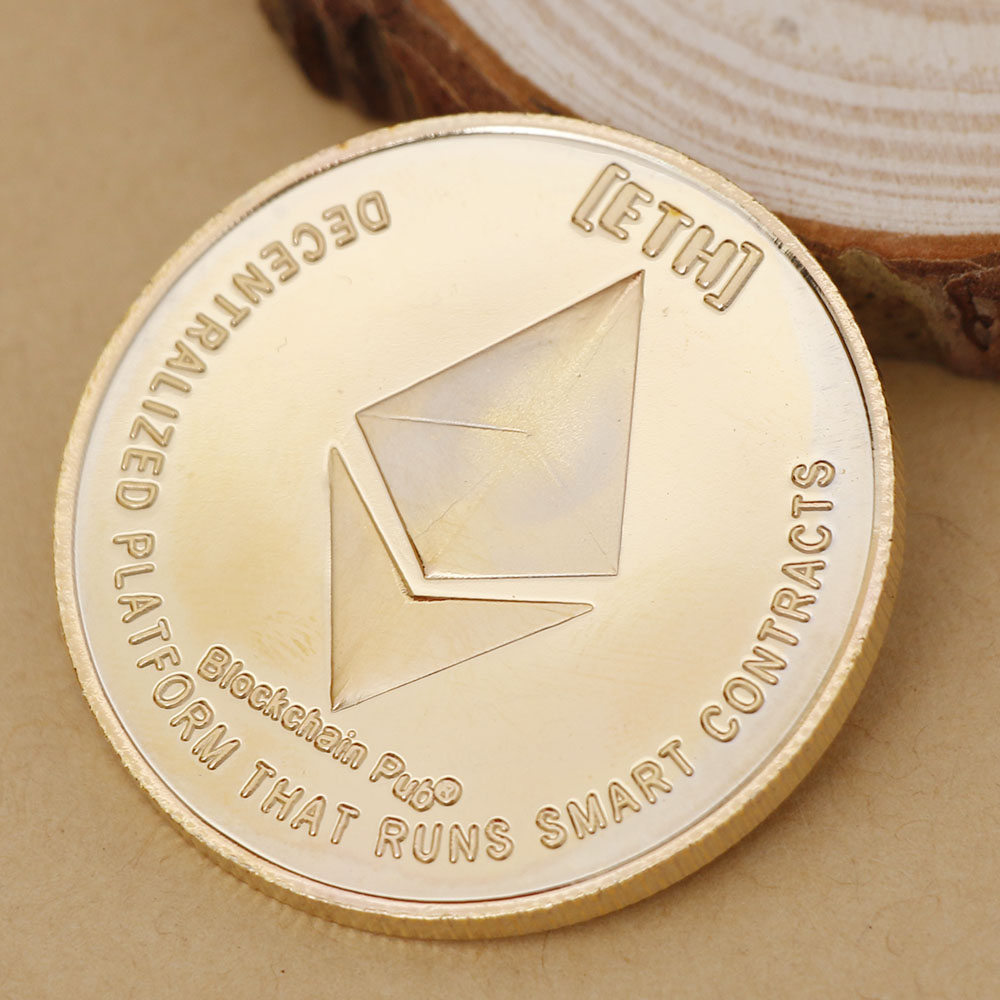 Art Gift Collection Gold Plated Commemorative Collectible Golden Iron ETH Ethereum Miner Coin Collection Drop Shipping