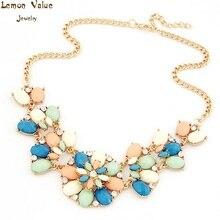 Lemon Value New Statement Choker Vintage Charms Maxi Collar Boho Gem Crystal Flower Pendant Necklace Women Jewelry Collier A524