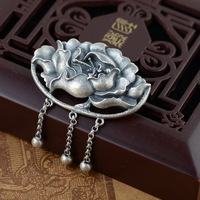 Thai Silver Peony Blossom Brooch Pendant Handmade Flower Silver Brooches Flowers Tassel Chinese Style Pin Luxury Jewelry SBH0002