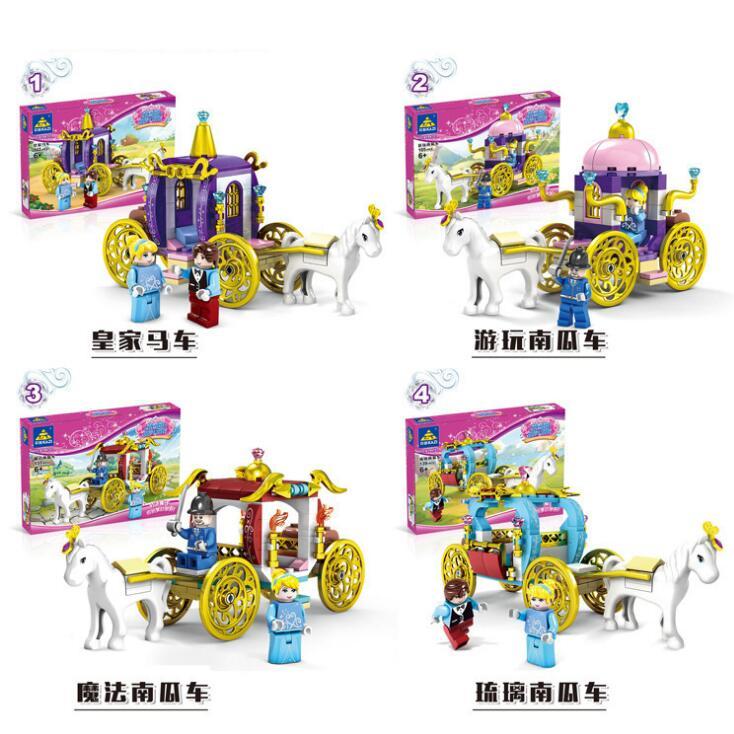 4 Set Girl Friends World Pumpkin Carriage Diy Building Block Brick font b Toys b font