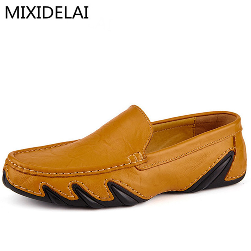 Genuine Leather Men's Flats Casual Luxury Brand Men Loafers Comfortable Soft Driving Shoes Slip On Leather Moccasins split leather dot men casual shoes moccasins soft bottom brand designer footwear flats loafers comfortable driving shoes rmc 395