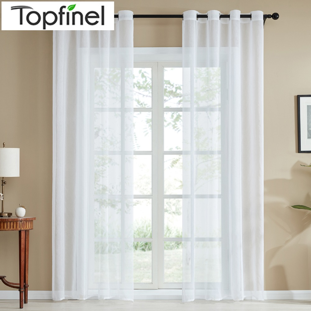 amusing plain white living room | Topfinel Plain Voile Curtain White Sheer Curtains for ...