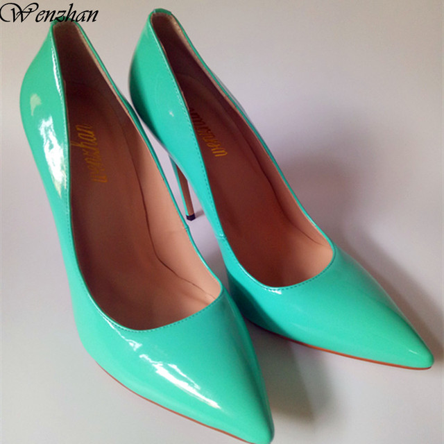 Fashion Womens Pumps Genuine Leather Green High Heels Shoes Woman Wedding Size 36
