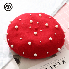 New fashion womens wool pearl hats painter beret brand casual autumn and winter warm girls caps touca beanie