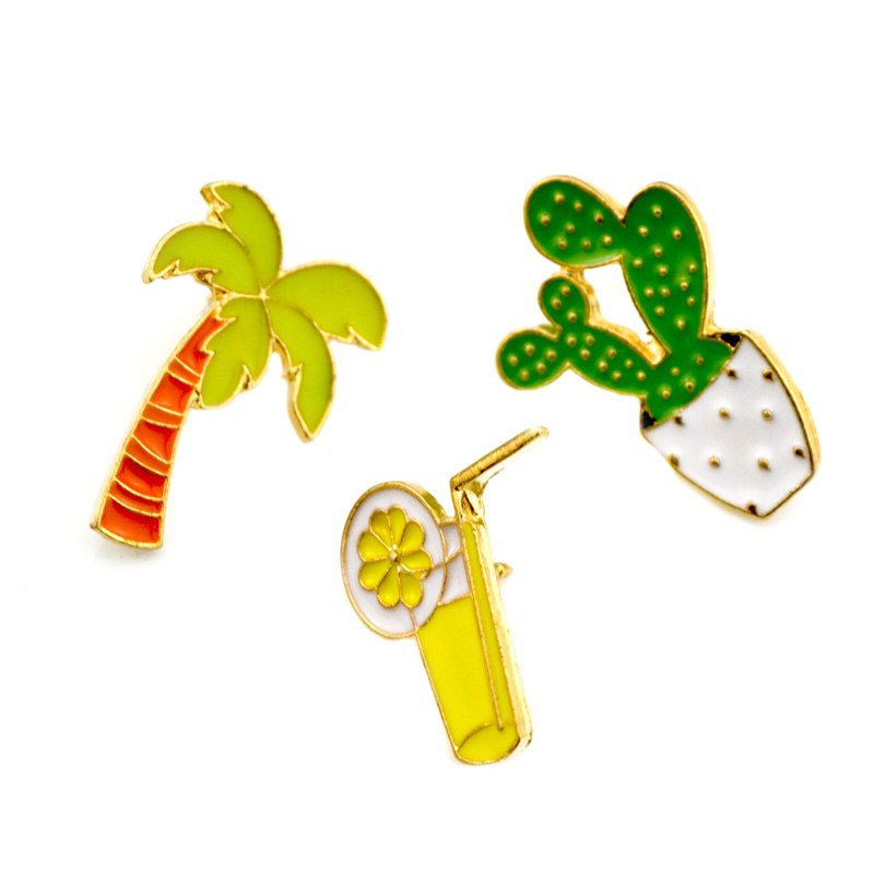 Lot 3 Pcs Womens Collar Brooch Pins Coconut Tree Cactus Orange Juice Badge Brooches For Women Jewelry