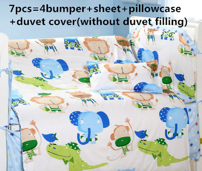 Promotion! 6/7PCS Cartoon 100% cotton baby bedding set crib bumper baby cot sets baby bed Crib product,120*60/120*70cm promotion 6 7pcs cartoon cot baby crib bedding sets bed linen 100%cotton reactive baby bedding set 120 60 120 70cm